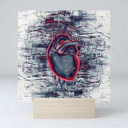 Gamer Heart BLUE CRIMSON / 3D render of mechanical heart Mini Art Print