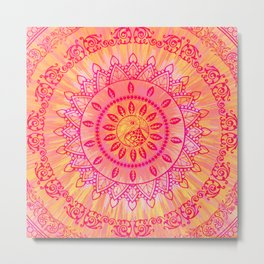 Sun Kissed Mandala Orange Pink Metal Print