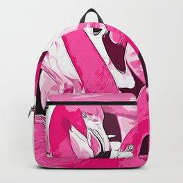 pink flamingo love couple vector art Backpack