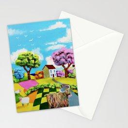Highland cow folk art painting Stationery Cards
