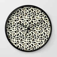 leopard Wall Clocks featuring Leopard by Laura Maria Designs