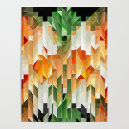 Geometric Tiled Orange Green Abstract Design Poster