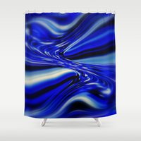 code Shower Curtains featuring Code Blue by Chris' Landscape Images & Designs