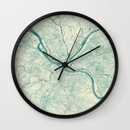 Pittsburgh Map Blue Vintage Wall Clock