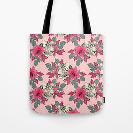 Classy cactus flowers and leopards design Tote Bag