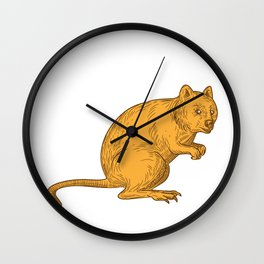 Quokka Drawing Color Wall Clock