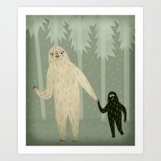 Sasquatch and Her Son Art Print