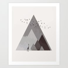 Rocky mountain geometric landscape Art Print