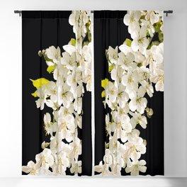 Cherry Flowers On Black Background #decor #society6 #buyart Blackout Curtain