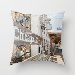 Chicago El Stop Throw Pillow