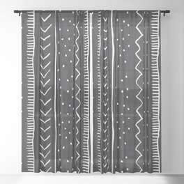 Moroccan Stripe in Black and White Sheer Curtain