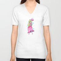 princess peach V-neck T-shirts featuring Princess Peach by ZoeStanleyArts
