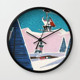 Bavaria, Germany Vintage Ski Travel Poster Wall Clock