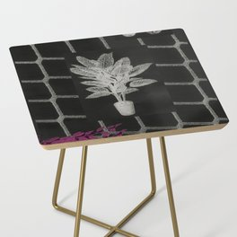 Strong Saints - Magic Dark collage with key, saints, net, shells, plants and grid Side Table