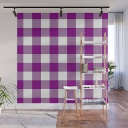 Gingham (Purple/White) Wall Mural