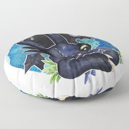Baby Toothless Night Fury Dragon  Watercolor white bg Floor Pillow