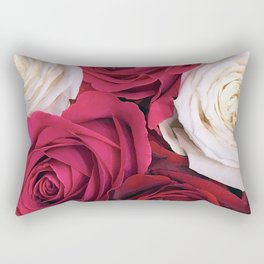 Bordeaux Red and Pink Champagne Roses Rectangular Pillow