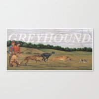 greyhound Canvas Prints featuring Greyhound by Jeff Crosby