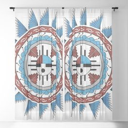 Southwest Native American Art Mandala Sheer Curtain