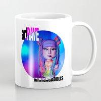 artrave Mugs featuring artRAVE ARTPOP ball collection rainbow dreadlocks by Sergiomonster