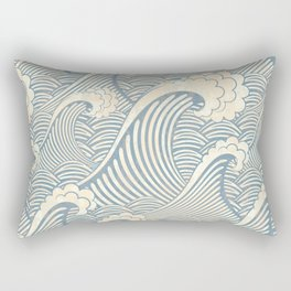 Abstract great waves vintage illustration pattern Rectangular Pillow
