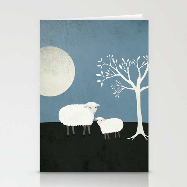 Midnight Sheep Stationery Cards