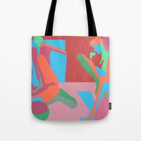 nudes Tote Bags featuring three nudes by design lunatic