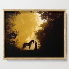 Magical Forest with a Lady and a Unicorn Serving Tray