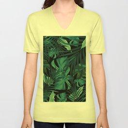 Tropical Jungle Night Leaves Pattern #1 #tropical #decor #art #society6 Unisex V-Neck