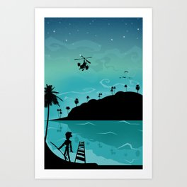Discovery of the island Art Print
