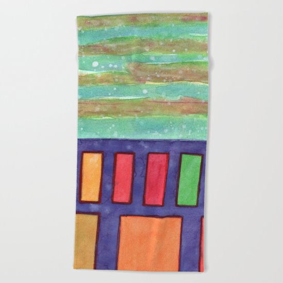 Building with colorful Windows Beach Towel