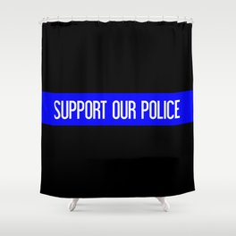 Support Our Police: Black U.S. Flag Shower Curtain