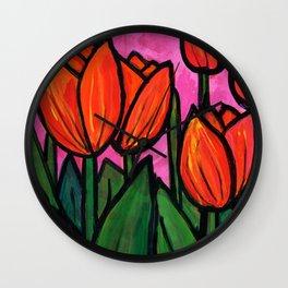 Tulips at Sunset Wall Clock