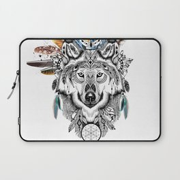 Bohemian Wolf with Feather Headdress Laptop Sleeve
