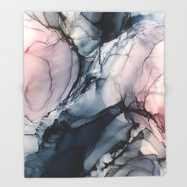 Blush, Navy and Gray Abstract Calm Clouds Throw Blanket