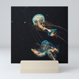 Blue & Orange Jellyfish Mini Art Print