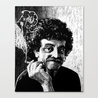 vonnegut Canvas Prints featuring Kurt Vonnegut by Topher Rasmussen