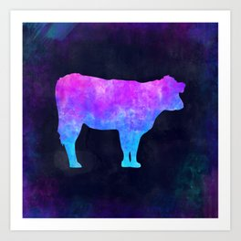 COW IN SPACE // Animal Graphic Art // Watercolor Canvas Painting // Modern Minimal Cute Art Print