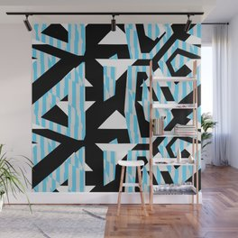 Blue Sharp Angular Shapes on Monochrome Texture Wall Mural