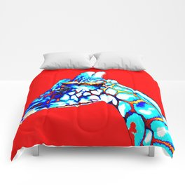 Colorful Giraffe Red (Left facing) Comforters