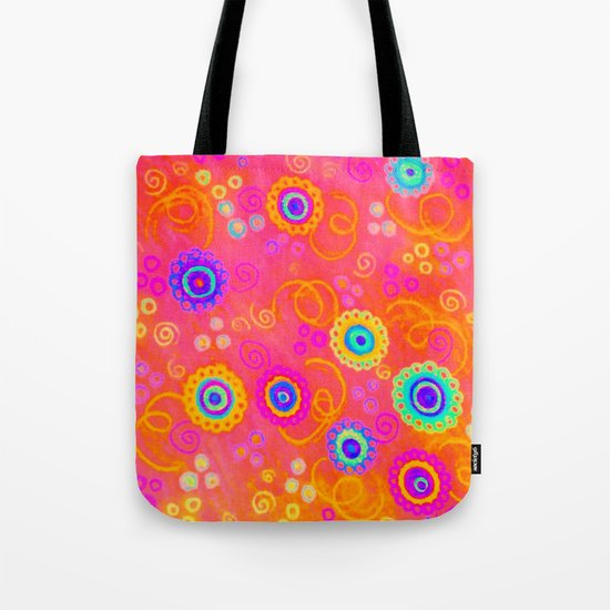 SWIZZLE STICK - Sweet Cherry Red Fruity Candy Swirls Abstract Watercolor Painting Feminine Art Tote Bag