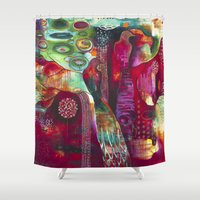"flora bowley Shower Curtains featuring ""True Nature"" Original Painting by Flora Bowley by Flora Bowley"