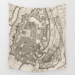 Vintage Map of Copenhagen Denmark (1764) Wall Tapestry