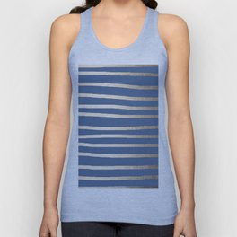 Simply Drawn Stripes White Gold Sands on Aegean Blue Unisex Tank Top