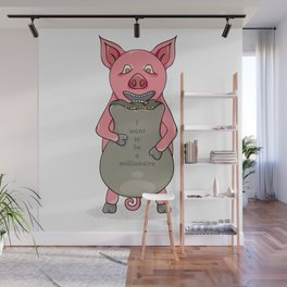 pig and bag with gold coins Wall Mural