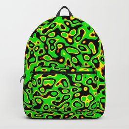 Abstract fractal green yellow marbleized psychedelic plasma Backpack