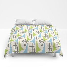 Mid Century Modern Atomic Wing Composition 92 Blue Chartreuse and Gray Comforters