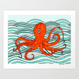 The Orange Octopus Art Print