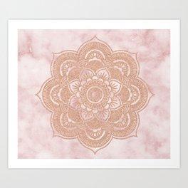 Rose gold mandala - pink marble Art Print