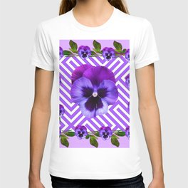 LILAC PURPLE ON PURPLE PANSIES  FLOWERS PATTERNS T-shirt